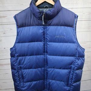 Eddie Bauer Blue Goose Down Full Zip Puffer Vest